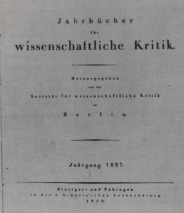 cover of the first issue of the 'Jahrbücher für Wissenschaftliche Kritik