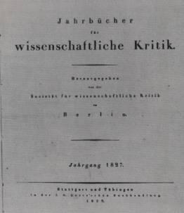 """Copertina del primo numero del """"Jahrbücher für Wissenschaftliche Kritik"""""""