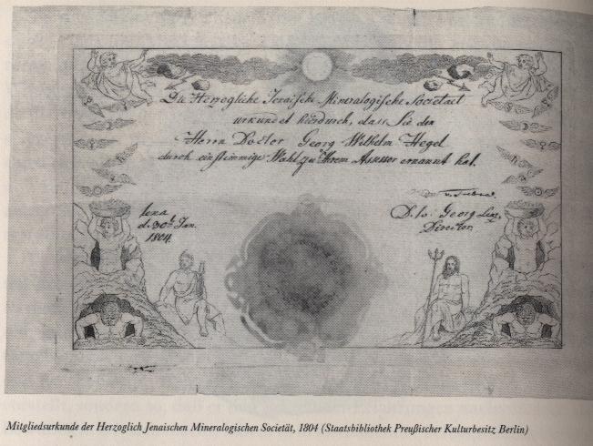 "Membership certificate of the 'Jenaer Mineralogische Societät' Staatsbibliothek preußischer Kulturbesitz, Berlin (reproduced from ""Marbacher Magazin 56/1991: Von Stuttgart nach Berlin - Lebensstationen Hegels"", p.44, currently out of print)"