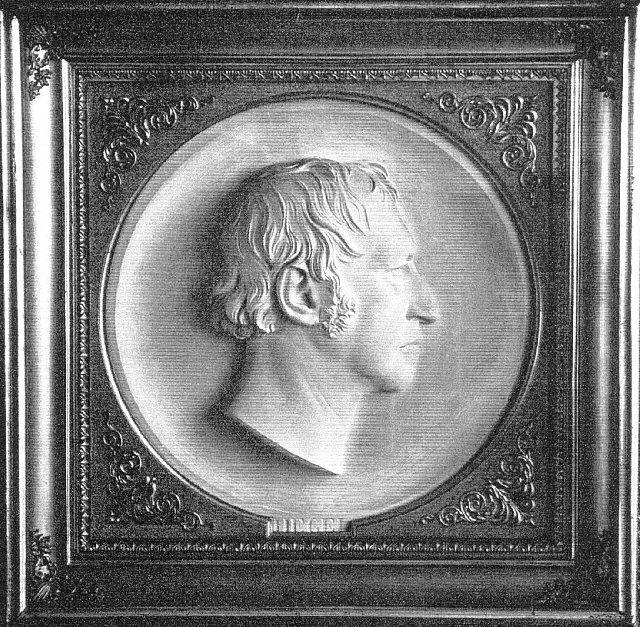 Hegel, bas relief by Fredrich Drake